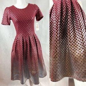 Lularoe Amelia Elegant Red Silver Foil Dress S NWT